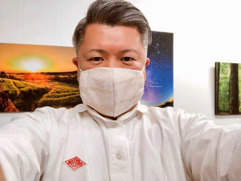さおり織りさんに織ってもらった第一号マスク